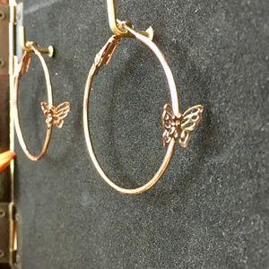 butterfly hoop earrings